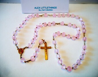 Vintage Pink Rose Beaded Rosary First Communion Catholic Religious