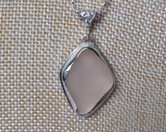 Pale pink sea glass and sterling silver pendant necklace