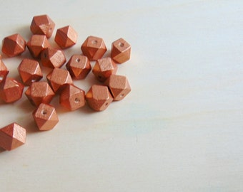 Copper Hexagon Wooden beads 12mm, Handpainted faceted wood beads