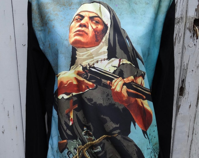 Vintage B Movie Nun and Gun Sweater - Size 10 12 14 16 - Jumper Top Long Sleeve Alternative Retro Tattoo Poster