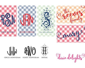 Monogrammed Personalized Gingham Gift Tags with Envelopes