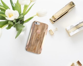 Platinum Edition Untreated Wood with Rose Gold Detailing Hybrid Hard Case Otterbox Symmetry iPhone 6 / iPhone 7 / Galaxy S7 / S7 Edge