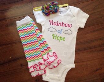Personalized Baby Bodysuit. Rainbow of Hope. Bodysuit leg warmer and bow set. Rainbow baby. Heaven.
