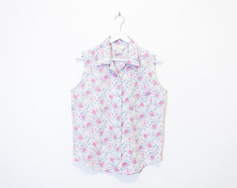 on sale - white & pastels floral button-up shirt / sleeveless collared blouse / size M