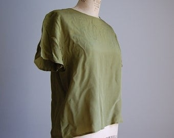 vintage olive green silk top / cropped silk top