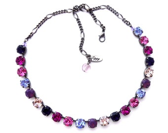 Swarovski Crystal Necklace, 8mm Pink, Purple, Ombre, Multi Colors, Optional Matching Bracelet and Earrings, Assorted Finishes, Gift Packaged