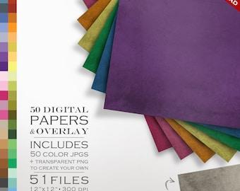B2G1 Digital Scrapbook 51 Piece Grunge Paper Pack - 50 Colors & Grunge Overlay to DIY - Scrapbooking Paper Digital Paper Pack