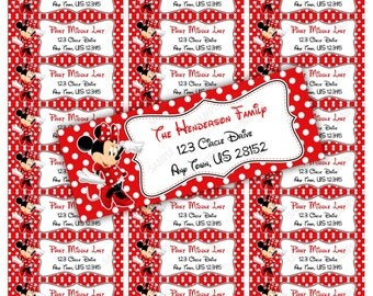 Red Minnie Mouse Address Label Avery 5160 - Instant download