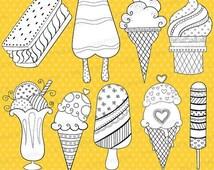 80% OFF SALE ice cream popsicle digital stamp commercial use, vector graphics, digital stamp, digital images - DS311