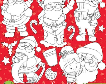 80% OFF SALE Santa claus digital stamp commercial use, vector graphics, digital stamp, christmas - DS753