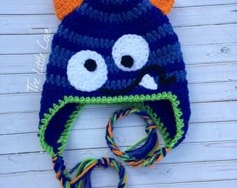 Crochet Monster Hat, Monster Hat, Crochet Boy Hat, Crochet Baby Monster Hat, Boy Monster Hat, Little Monster Hat