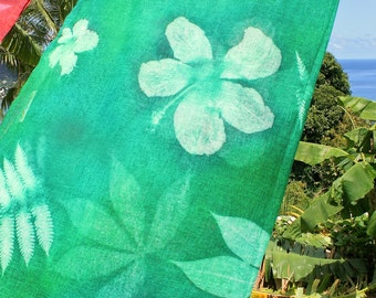 Handprinted Nature Embossed Cotton Gauze Scarf Shawl Made in Seychelles:  Dark Green