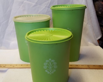 Tupperware green canister set with