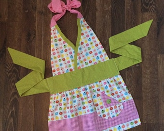 The Little • Apples -  full apron - baking apron - gift idea - cooking apron - girls - retro - vintage