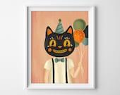 Halloween Cat Art Print - Cat Illustration - Halloween Art Print - Halloween Wall Art