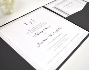 FREE Envelope Addressing! Black and Silver Wedding Invitation, Pocketfold, Elegant, Classy, Simple, Calligraphy, Script, Black, Dots Design