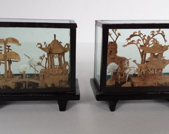Vintage Set Of Cork Carved Dioramas - Set of 5