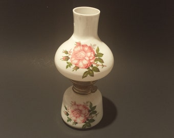 Pretty Pink Posey Miniature Oil Lamp