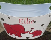 Personalized Basket, Easter Bucket,  Oval Tub, with Momma and Baby Elephant