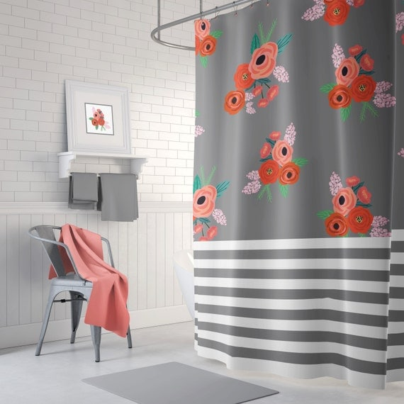 orange floral shower curtain. Stripes and Floral Shower Curtain  Navy Blue Coral Red Green White Light Pink Flowers Leaves Home Decor Teen Girl Bathroom