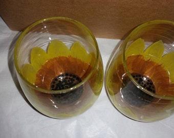 Sunflower Stemless Wine Glass Set