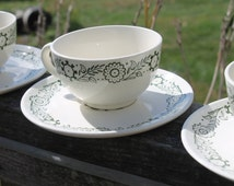 Scio Pottery's Provincial Green Rooster Cups and Saucers - Set of 6