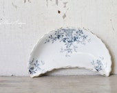 Antique Ironstone Bone Dish Soap Dish Flow Blue Scalloped  French Country Shabby Chic