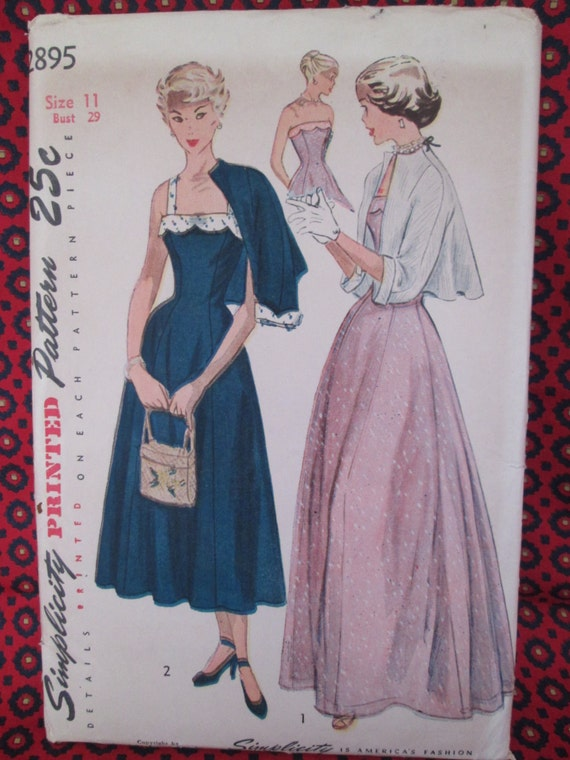 Vintage Simplicity Pattern #2895 Misses' ONE-PIECE DRESS and Jacket 1940's Printed Sewing Pattern with Instructions Uncut Factory Folds