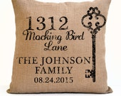 Personalized Home Address Burlap Pillow House Warming New Home Gift Jute Hessian Cushion Wedding Bridal Registry Anniversary Dorm Decor