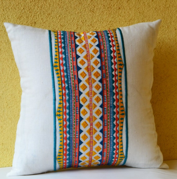 Blue Aztec Throw Pillows : Decorative Pillow Dorm Decor Aztec Pillow Cover Blue