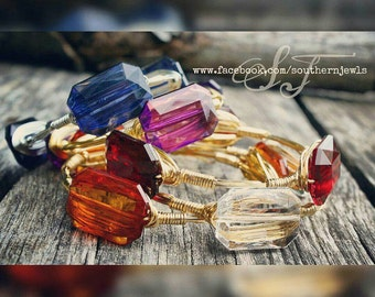 Bangle Bracelet, Wire Wrapped, Stack em up, Faceted Translucent, Rectangular, Gold Wire, Fall Fashion, Baubles, Game Day, Light Weight.