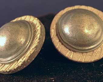 Wood with Silver Dome Button Post Earrings