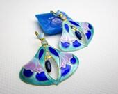 Vintage Cloisonne Floral Earrings, Genuine Opals & Lapis Lazuli, Sterling Gold Wash, Excellent Cond. ca.1980.