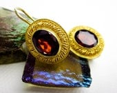 Vintage Filigree Earrings Garnet & Sterling Silver, Gold Wash, Lever Back, Early 1990s.