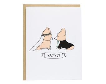 Tricolor Corgi Wedding Card, Wedding Card, Dog Wedding Card, Wedding, Engagement, Congrats
