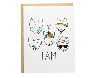 Sale! FAM Dog Heads Card, Corgi Dog Card, Corgi Card, Corgi Heads, Family, Best Friends