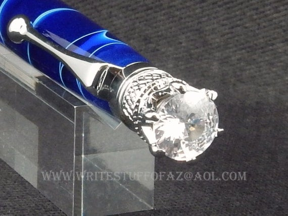 Navy Blue Twist Pen, Adorned with Swarovski Crystal and Finished in Chrome