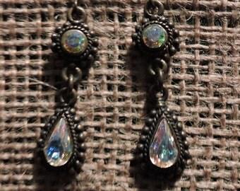 Aurora Borealis Pierced Earrings Vintage Aurora Borealis Rhinestone Pierced Tear Drop Earrings