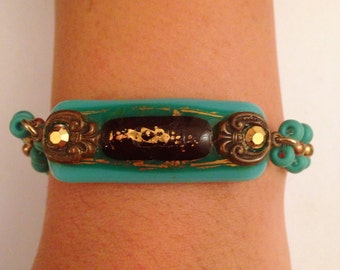 Morano glass Bracelet -turqoise glass with decorated gold24K with small turqouise beads - hand made.