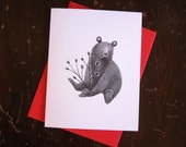 Bear with Rose Hips Notecard