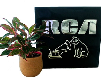 Vintage Black Plastic RCA Sign, Silver Letters, 1970s, RCA Advertising, RCA Victor, Retro