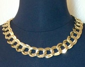 Vintage Chunky Gold Chain Necklace Heavy Double Link 18 Inch Bold Classic Jewelry