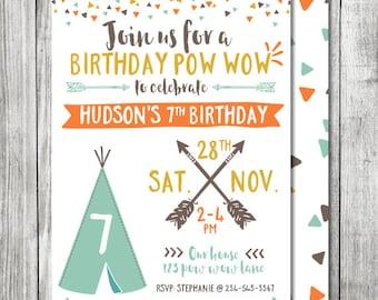 boy pow wow tribal birthday invite teepee birthday invite double sided ...