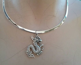Dragon mythical pendant . sterling silver.MADE TO ORDER