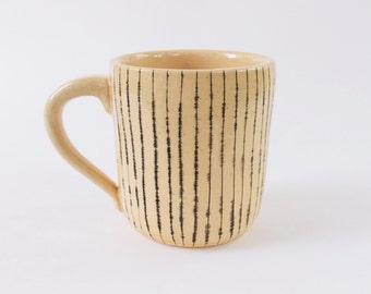Handmade ceramic striped 8 oz mug
