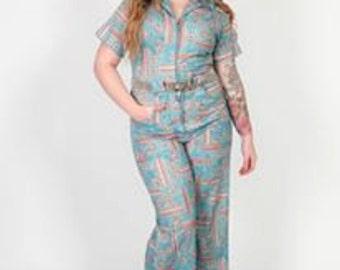 60s 70s vintage novelty print Jumpsuit geometric navajo chic pattern rompersuit
