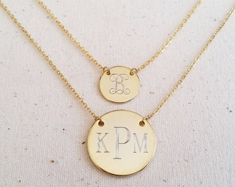 Engraved Initial or Monogram Pendant Necklace -  Circle Monogram, Bridesmaids Gift, PersonalizedJewelry, Mom Jewelry,