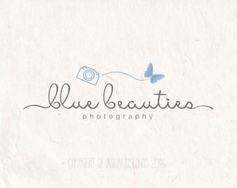 Photography logo - premade DIY logo psd template - Camera logo butterfly logo design - photography watermark design