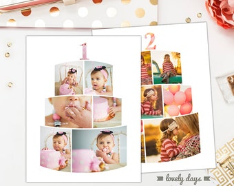 """Cake Smash First Birthday and Second Birthday 11x14"""" Blog Board Templates INSTANT DOWNLOAD"""