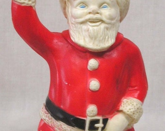 Vintage Christmas Santa Claus Rubber Squeak Toy Holds Bell and Bag of Gifts